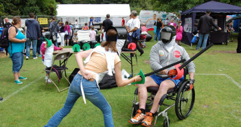 Wheelchair fencing at Disability Awareness Day