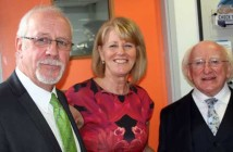 Colin and Wendy Parry welcome the President of Ireland to the Peace Centre