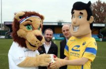 Active Archie teams up with The Legend watched by Active Cheshire's Adam Norris and Warrington Chairman Toby Macormac.